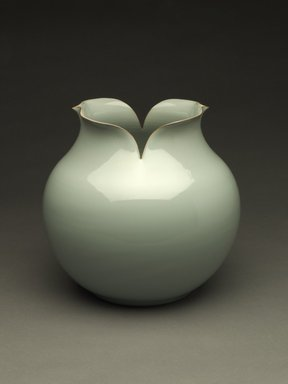 Kawase Shinobu (Japanese, born 1950). Vase with Everted Floriate Rim, 1988. Stoneware, Guan-type celadon glaze, 10 1/2 x 11 in. (26.7 x 27.9 cm). Brooklyn Museum, Purchased with funds given by the Mary Livingston Griggs and Mary Griggs Burke Foundation, 1989.55. Creative Commons-BY