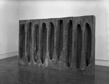 Ursula von Rydingsvard (American, born Germany, 1942). Umarles (You Went and Died), 1987-1988. Cedar, stain, 78 x 126 x 13 1/2 in. (198.1 x 320 x 34.3 cm). Brooklyn Museum, Gift of the Contemporary Art Council, 1989.5a-n. © Ursula von Rydingsvard