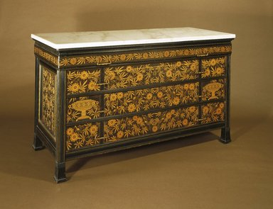 Herter Brothers (American, 1865-1905). Chest-of-Drawers, ca. 1880. Ebonized cherry, other woods, modern marble top, brass, 30 1/16 x 52 1/16 x 22 in. (76.4 x 132.2 x 55.9 cm). Brooklyn Museum, Modernism Benefit Fund, 1989.69. Creative Commons-BY
