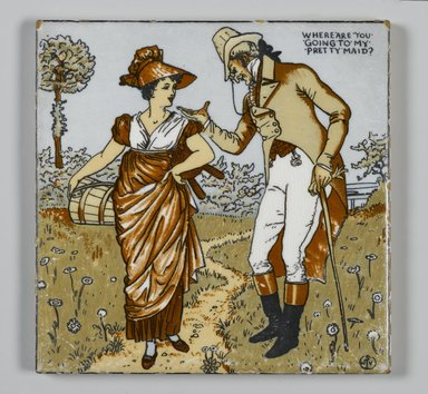 Walter T. Crane (British, 1845-1915). Tile, ca. 1890. Transfer-printed, polychromed, glazed earthenware, 6 x 6 x 5/16 in. (15.2 x 15.2 x 0.8 cm). Brooklyn Museum, Purchased with funds given by Barbara Jakobson, 1989.70