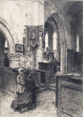 Léon-Augustin Lhermitte (French, 1844-1925). The Church of Saint-Eugène (L'Église de Saint-Eugène), 1884. Charcoal on laid paper, 19 x 13 3/8 in. (48.3 x 34 cm). Brooklyn Museum, Purchased with funds given by Karen B. Cohen, 1989.87