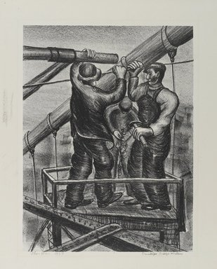 Theo Hios (American, born Greece, 1908-1999). Brooklyn Bridge Workers, 1937. Lithograph, on Basingwerk Parchment, Sheet: 18 1/2 x 15 in. (47 x 38.1 cm). Brooklyn Museum, Frank L. Babbott Fund, 1989.88. © Estate of Theo Hios