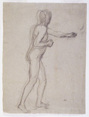 Pierre Puvis de Chavannes (French, 1824-1898). Study of a Standing Male Nude, ca. 1880. Black chalk on laid paper, 12 x 9 in. (30.5 x 22.9 cm). Brooklyn Museum, Purchased with funds given by Karen B. Cohen, 1989.90