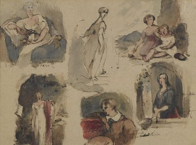 Thomas Sully (American, born England, 1783-1872). [Untitled] (Six Figure Studies) (recto) and [Untitled] (Seven Figure Studies) (verso), ca. 1830s. Iron gall ink and watercolor on beige, medium-weight, moderately textured antique laid paper, recto: 8 13/16 x 11 1/2 in. (22.4 x 29.2 cm). Brooklyn Museum, Gift of the American Art Council, 1990.102.1a-b