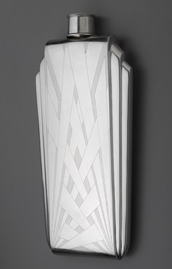 The Napier Company (1922-present). Flask, 1925-1930. Sterling silver and cork, 9 5/8 x 4 1/2 x 1 3/16in. (24.4 x 11.4 x 3cm). Brooklyn Museum, Modernism Benefit Fund, 1990.10a-b. Creative Commons-BY
