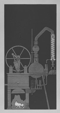 Matt Mullican (American, born 1951). Steam Engine and Continuous Water Still (Connected), 1988. Etching with 16 gauge copper plates, sheet: 22 x 15 1/8 in. (55.9 x 38.4 cm). Brooklyn Museum, Frank L. Babbott Fund, 1990.125.11. © Matt Mullican