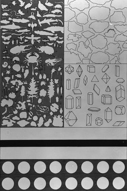 Matt Mullican (American, born 1951). Evolutionary Chart, 1988. Etching with 16 gauge copper plates, sheet: 22 x 15 1/8 in. (55.9 x 38.4 cm). Brooklyn Museum, Frank L. Babbott Fund, 1990.125.14. © Matt Mullican