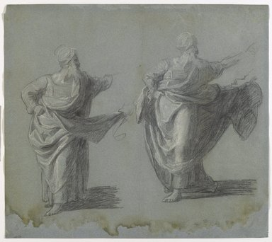 """John Singleton Copley (American, 1738-1815). Studies for """"Saul Reproved by Samuel for Not Obeying the Commandments of the Lord,"""" 1797-1798. Black crayon and white chalk on blue, medium-weight, slightly textured laid paper, sheet (sight): 12 1/4 x 14 1/4 in. (31.1 x 36.2 cm). Brooklyn Museum, Purchased with funds given by Mr. and Mrs. Leonard L. Milberg, 1990.126.1a-b"""