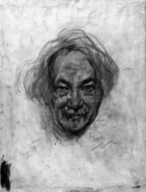 Jerome Myers (American, 1867-1940). Self-Portrait, ca. 1935. Sepia crayon on paper, 16 x 12 1/4in. (40.6 x 31.1cm). Brooklyn Museum, Emily Winthrop Miles Fund and A. Augustus Healy Fund, 1990.126.2. © Estate of Jerome Myers