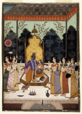 Murad and Lupha (active late 17th-early 18th century). A Vision of Vishnu (Vaikuntha Darshana), c 1710-15. Opaque watercolor, gold, and silver on paper, sheet: 7 11/16 x 5 3/8 in.  (19.5 x 13.7 cm). Brooklyn Museum, Designated Purchase Fund, 1990.134