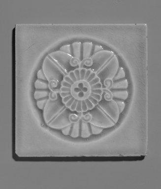 John Gardiner Low (American, 1835-1907). Tile, ca. 1881. Glazed earthenware, 4 5/16 x 4 5/16 x 3/8 in.  (11 x 11 x 1 cm). Brooklyn Museum, Gift of Joseph V. Garry, 1990.143.1