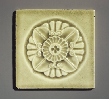 John Gardiner Low (American, 1835-1907). Tile, ca. 1881. Glazed earthenware, 4 5/16 x 4 5/16 x 3/8 in.  (11 x 11 x 1 cm). Brooklyn Museum, Gift of Joseph V. Garry, 1990.143.1