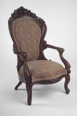 John Henry Belter (American, born Germany, 1804-1863). Armchair, Rosalie Pattern, ca. 1860. Wood, upholstery, 42 7/8 x 24 7/8 x 31 in. Brooklyn Museum, Bequest of DeLancey Thorn Grant in memory of her mother, Louise Floyd-Jones Thorn, 1990.145.9. Creative Commons-BY