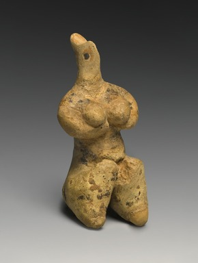 Female Figurine, late 5th millennium B.C.E. Clay, pigment, 4 1/8 x 1 7/8 x 1 5/8 in. (10.4 x 4.7 x 4.2 cm). Brooklyn Museum, Hagop Kevorkian Fund and Designated Purchase Fund, 1990.14. Creative Commons-BY