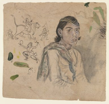 Indian. Study of a Youth, ca. 1800. Ink & light color on paper, sheet: 5 7/8 x 6 1/4 in.  (14.9 x 15.9 cm). Brooklyn Museum, Anonymous gift, 1990.185.4