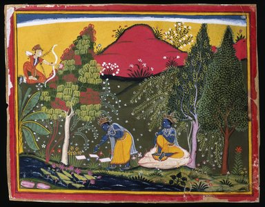 Indian. Cupid Disturbs Krishna's Penance, Page from a Gita Govinda Series, ca. 1650-1660. Opaque watercolor and gold on paper, Sheet: 7 5/8 x 9 3/4 in. (19.4 x 24.8 cm). Brooklyn Museum, Gift of Mr. and Mrs. Robert L. Poster, 1990.186