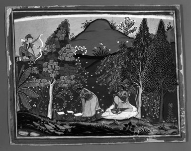 Brooklyn Museum: Cupid Disturbs Krishna's Penance, Page from a Gita Govinda Series