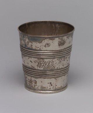Geradus Boyce (American, 1820-1857). Beaker, ca. 1820. Silver, 3 1/8 x 2 7/8 x 2 7/8in. (7.9 x 7.3 x 7.3cm). Brooklyn Museum, Gift of Wunsch Foundation, Inc., 1990.196.3. Creative Commons-BY