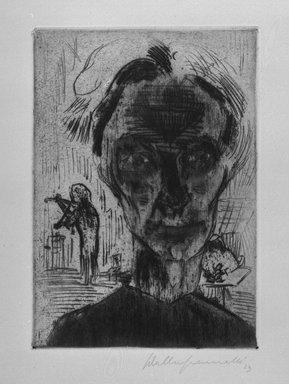Walter Gramatté (German, 1897-1929). Man in Room: Self Portrait, 1923. Etching, sheet: 21 x 15 in. Brooklyn Museum, Alfred T. White Fund, 1990.214