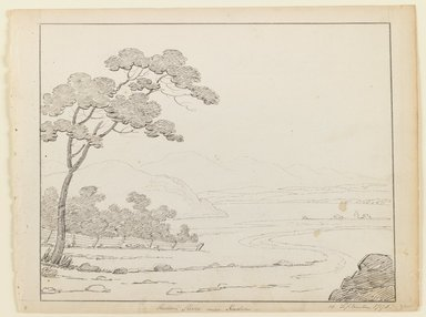 Alexander Robertson (American, born Scotland, 1772-1841). Hudson River Near Hudson, September 15, 1796. Ink on paper, Sheet: 8 3/4 x 11 5/8 in. (22.2 x 29.5 cm). Brooklyn Museum, Purchased with funds given by Mr. and Mrs. Leonard L. Milberg, 1990.216.1