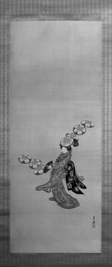 Ogata Gekko (Japanese, 1859-1920). Woman Performing Hat Dance, late 19th century. Hanging scroll, ink, color, silver and gold silk, Image: 48 x 18 7/8 in. (121.9 x 47.9 cm). Brooklyn Museum, Gift of the Asian Art Council and The Roebling Society in memory of Dr. Stanley L. Wallace, 1990.22.1