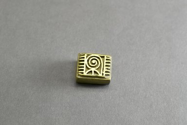 Akan. Geometric Gold Weight, Rectangular Block, late period, ca. 1700-1900. Copper alloy, width: 1 1/2 in. (height: 1.5 cm. Brooklyn Museum, Gift of Shirley B. Williams, 1990.221.78. Creative Commons-BY