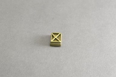 Akan. Rectangular Geometric Gold Weight, 19th century. Copper alloy, width: 3/4 in. (height: 1.0 cm. Brooklyn Museum, Gift of Shirley B. Williams, 1990.221.82. Creative Commons-BY