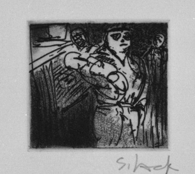 Stephen Lack. Search and Seizure, 1987. Etching and aquatint, Sheet: 9 x 8 in. (22.9 x 20.3 cm). Brooklyn Museum, Gift of Jonathan Seliger, 1990.237.12. © Stephen Lack