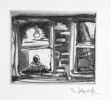 Stephen Lack. Tired Window, 1987. Etching and aquatint, Sheet: 9 x 8 in. (22.9 x 20.3 cm). Brooklyn Museum, Gift of Jonathan Seliger, 1990.237.3. © Stephen Lack