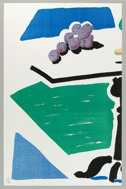 David Hockney (British, born 1937). Apples, Grapes, Lemon on a Table (for BAM), 1988. Homemade print using Toshiba and Canon copiers on Arches paper, 14 x 17 in. (35.6 x 43.2 cm). Brooklyn Museum, Gift of Cheryl and Henry Welt, 1990.238.3a-b. © David Hockney