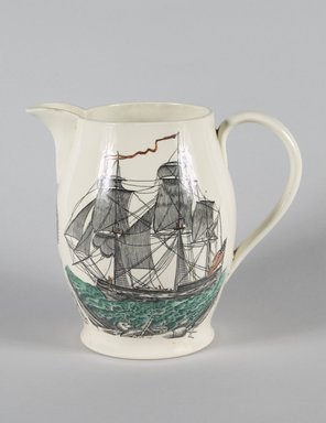 William Adams & Sons (1769-present). Pitcher, ca. 1930. Glazed earthenware, 8 1/4 x 9 x 6 in. Brooklyn Museum, Gift of Mrs. Nathan L. Burnett, 1990.29.2. Creative Commons-BY