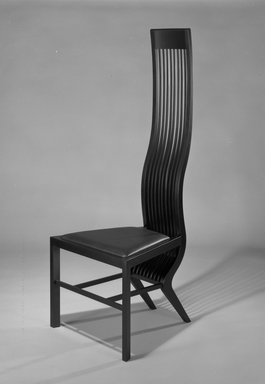 "Isozaki Arata (Japanese, born 1931). ""Monroe"" Side Chair, ca. 1983. Birch wood, imitation black leather, 55 1/16 x 21 3/16 x 21 3/32 in. Brooklyn Museum, Gift of the James Corcoran Gallery, 1990.2. Creative Commons-BY"