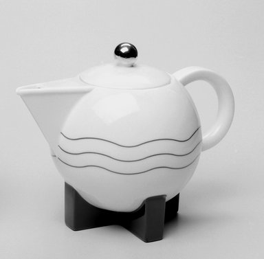 Michael Graves (American, 1934-2015). Coffee Pot with Lid and Drip Spout, Designed 1987; Manufactured 1989-1990. Porcelain, Coffee Pot & Lid (a & b): 7 x 9 1/4 x 5 3/4 in. (17.8 x 23.5 x 14.6 cm). Brooklyn Museum, Gift of Swid Powell, 1990.34.1a-c. Creative Commons-BY
