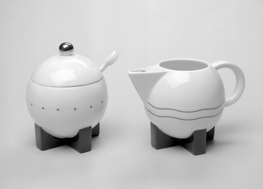 Michael Graves (American, 1934-2015). Creamer, Designed 1987; Manufactured 1989-1990. Porcelain, 3 7/16 x 5 5/8 x 3 7/16in. (8.7 x 14.3 x 8.7cm). Brooklyn Museum, Gift of Swid Powell, 1990.34.2. Creative Commons-BY
