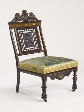 Charles Tisch (active 1870 -1890). Side Chair, ca. 1885. Rosewood, other woods, brass, silk upholstery, 38 3/4 x 23 1/4 x 19 1/2 in. (98.4 x 59.1 x 49.5 cm). Brooklyn Museum, H. Randolph Lever Fund, 1990.39.4. Creative Commons-BY