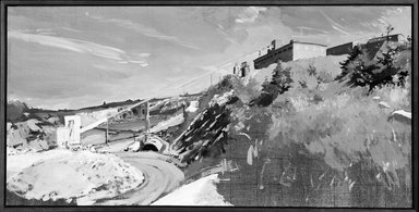 Rackstraw Downes. Dragon Cement, Rock Crushing Operation (Study), 1985. Oil on canvas mounted on board, 17 5/8 x 35 1/8 in.  (44.8 x 89.2 cm). Brooklyn Museum, Gift of Harry Kahn, 1990.42.1. © Rackstraw Downes