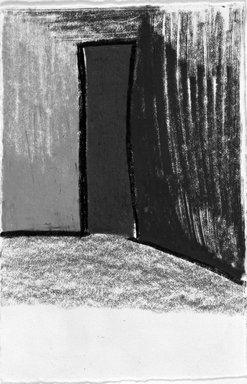Fargo Deborah Whitman (American, born 1953). Red Door, 1988. Charcoal and oil graphite on paper, unframed: 4 x 6 in. (10.2 x 15.2 cm). Brooklyn Museum, Purchase gift of an anonymous donor, 1990.54. © Fargo Deborah Whitman