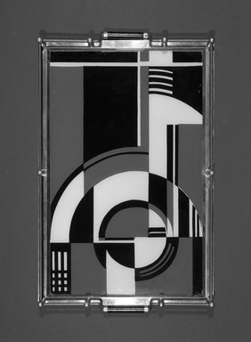 Tray, ca. 1935. Chromed metal, painted glass, wood, 1 1/2 x 18 1/16 x 12 1/16in. (3.8 x 45.9 x 30.6cm). Brooklyn Museum, Gift of Sanford L. Smith & Associates, Ltd., 1990.5. Creative Commons-BY