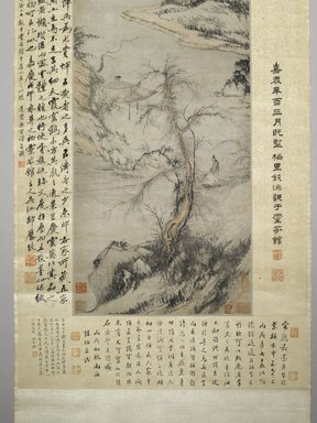 Wu Li (Chinese, 1632-1718). An Old Man Walking by a Stream, with Distant Mountains, 1706. Ink and color on paper, image: 50 3/4 x 13 1/2 in. (128.9 x 34.3 cm). Brooklyn Museum, Gift of the Asian Art Council, 1990.71