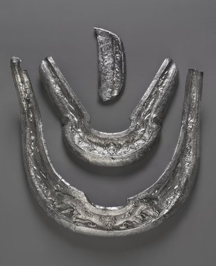 Saddle Ornaments, 10th century. Silver, metalwork, a: 11 1/2 x 13 1/2 x 1 1/2 in. (29.2 x 34.3 x 3.8 cm). Brooklyn Museum, Purchased with funds given by Mr. and Mrs. Herbert Irving, 1990.72a-c. Creative Commons-BY