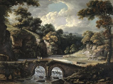 George Willie Beck (American, born England, 1748-1812). Stone Bridge over the Wissahickon, ca. 1800. Opaque watercolor on paper mounted to canvas attached to Masonite and a wooden strainer, 16 1/2 x 22 in. (41.9 x 55.9 cm). Brooklyn Museum, Purchased with funds given by Mr. and Mrs. Leonard L. Milberg, 1991.10.1