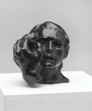 Auguste Rodin (French, 1840-1917). Small Head of Jean de Fiennes with Left Hand (Petite tête de Jean de Fiennes avec main gauche), model date unknown; cast 1985. Bronze, 3 x 3 x 3 in. (7.6 x 7.6 x 7.6 cm). Brooklyn Museum, Gift of Cantor Fitzgerald, Inc., 1991.108.2. Creative Commons-BY