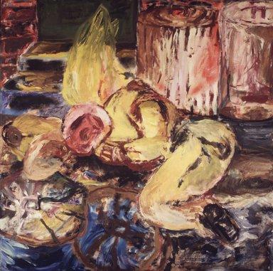 Roberto Juarez (American, born 1952). Derelict, 1982. Oil on canvas, 73 x 73in. (185.4 x 185.4cm). Brooklyn Museum, Gift of Bette Ziegler, 1991.111.3. © Roberto Juarez