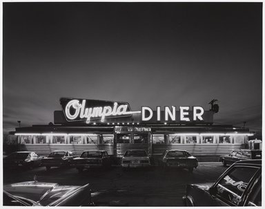 Tom Baril (American, born 1952). Olympia Diner 1983, 1983. Selenium-toned gelatin silver photograph, sheet: 16 x 19 3/4 in. Brooklyn Museum, Gift of the artist, 1991.114. © Tom Baril