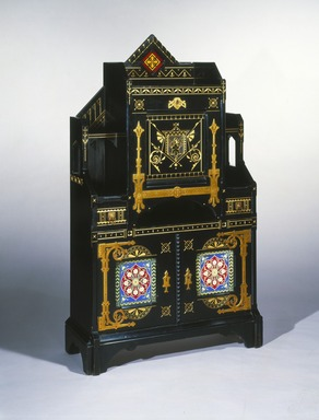 Kimbel and Cabus (1863-1882). Cabinet-Secretary, ca. 1875. Ebonized cherry, other woods, gilt incising, brass, leather, glazed earthenware tiles, 59 x 34 7/8 x 13 3/8 in. (149.9 x 88.6 x 33.4 cm). Brooklyn Museum, Bequest of DeLancey Thorn Grant in memory of her mother, Louise Floyd-Jones Thorn, by exchange, 1991.126. Creative Commons-BY