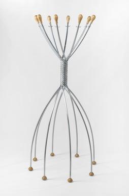 """Lomazzi de Pas, D'urbino. """"Octopus"""" Coat Hanger, 1991. Zinc-plated steel and beech, 61 5/8 x 29 1/2 x 29 1/2 in. (156.5 x 74.9 x 74.9 cm). Brooklyn Museum, Gift of Zero U.S. Corporation, 1991.143. Creative Commons-BY"""