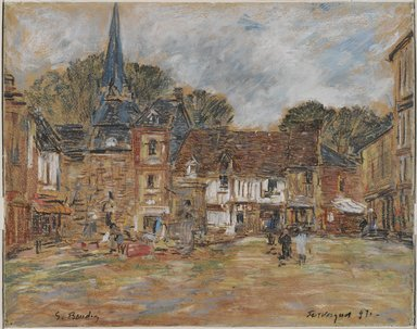 Eugène Louis Boudin (French, 1824-1898). Village Square, Fervaques, Normandy, 1897. Pastel on cream wove paper with blue threads, 14 1/8 x 17 1/8in. (35.9 x 43.5cm). Brooklyn Museum, Gift of Mr. and Mrs. Robert E. Blum, 1991.147.1