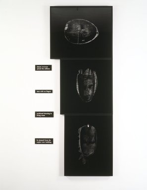 Lorna Simpson (American, born 1960). The Service, 1990. Three black and white gelatin silver photographs and four plastic plaques, Overall: 120 x 55 in. (304.8 x 139.7 cm). Brooklyn Museum, Charles Stewart Smith Memorial Fund and Bequest of Laura L. Barnes, by exchange, 1991.151a-g. © Lorna Simpson