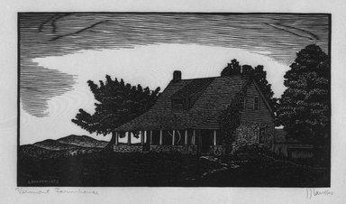 J.J. Lankes (American, 1884-1960). Vermont Farmhouse, 1928. Woodcut on tissue thin wove tissue paper, sheet: 8 3/4 x 13 3/16 in. Brooklyn Museum, Gift of Gertrude W. Dennis, 1991.153.21. © Estates of Julius J. Lankes