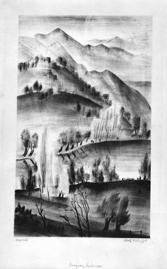 Adolf Arthur Dehn (American, 1895-1968). Imaginary Landscape, 1928. Lithograph chine colle on heavy wove paper, Image: 17 5/16 x 10 11/16 in. (43.9 x 27.1 cm). Brooklyn Museum, Gift of Gertrude W. Dennis, 1991.153.7. © Estate of Adolf Arthur Dehn